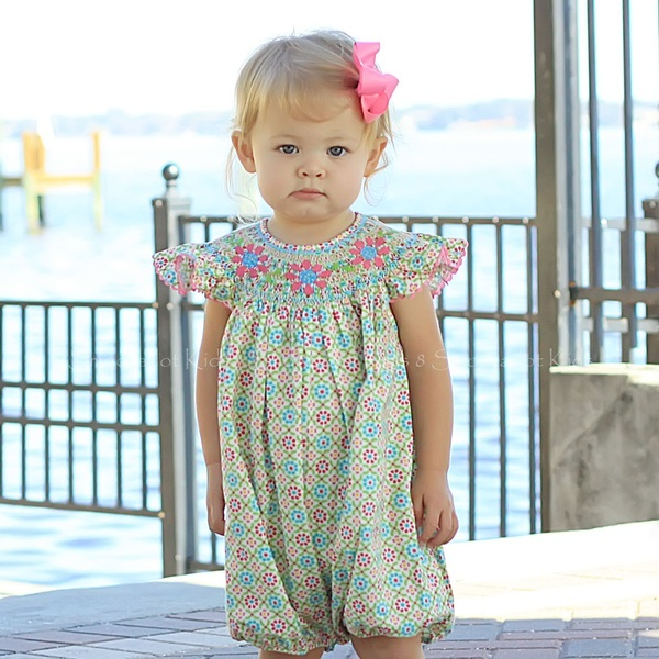 Pink & Aqua Floral Smocked Angel Wing Bubble