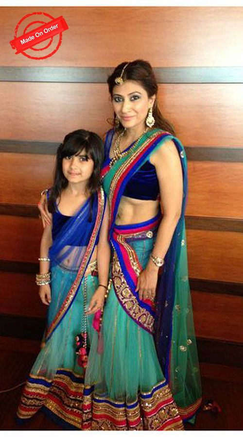 Adorable Mother Daughter Aqua Net Lehenga Choli For You BP3416 Like Mother like Daughter same to same outfit, obviously the little girl wants to feel she is a big baby now!! Choose a beautiful matching lehenga choli for you and your Daughter.This is a custom made design which can be made in any color. Additional cost appreciate to bigger size. Choose correct height below