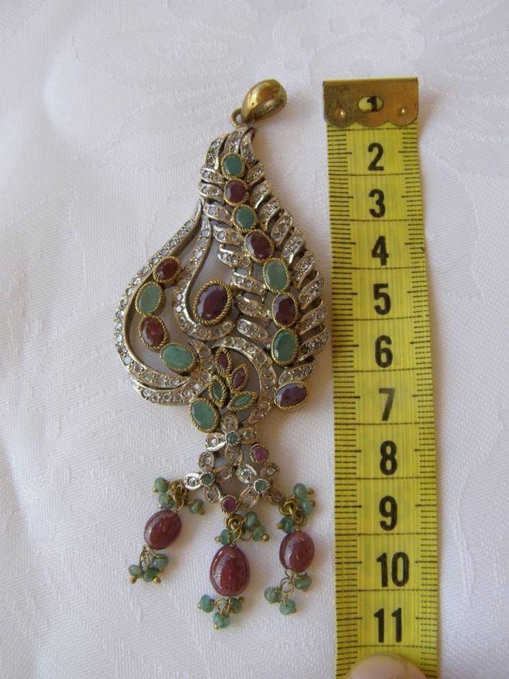 Vintage sterling silver big pendant 925 natural Ruby emerald sapphire pendant