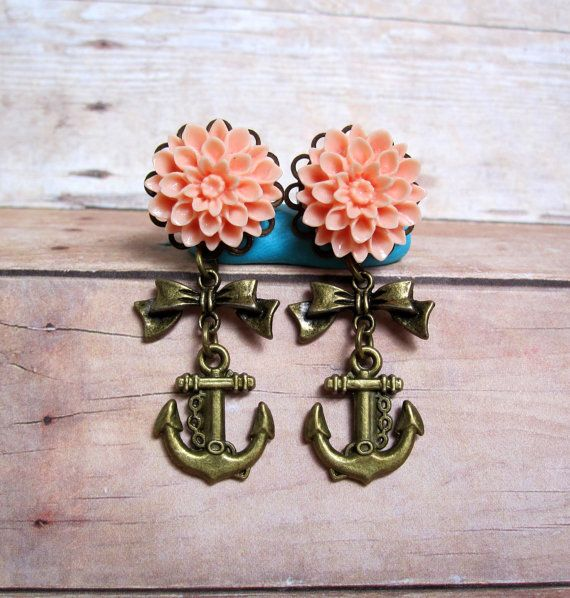 """Pair of Peach Chrysanthemum Plugs with Antique Brass Bow and Anchor Charm Danglies - Handmade Girly Gauges - by WhimsyByKrista on Etsy, $26.00  Available in sizes: 0g, 00g, 7/16"""", 1/2"""", 9/16"""", or post earrings"""