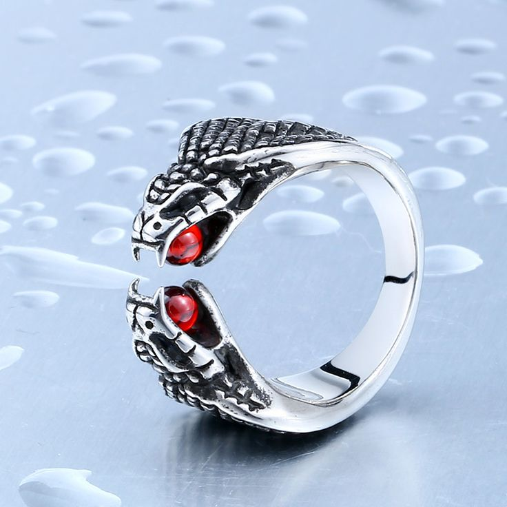 Drop Ship Sale Stainless Steel Cool Snake Ring With Red Stone Stainless Steel CZ Stone Man's Trendy Animal Ring BR8-326