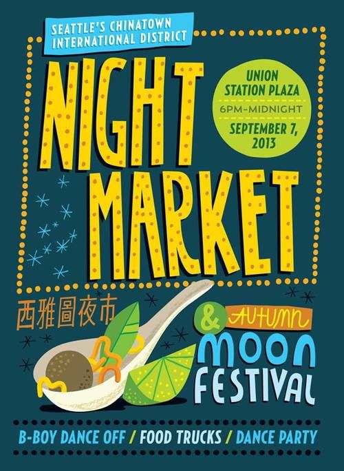 International District Night Market & Autumn Moon Festival happening again this year, September 12 @ 6pm! This year will be bigger and better than ever, with 20 food trucks - each offering a $5 Asian themed menu/food item, 30 urban craft vendors, a Kirin Ichiban Beer Garden, and lots of great entertainment!