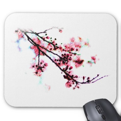 Pintura de la flor de cerezo alfombrillas de raton de Zazzle.
