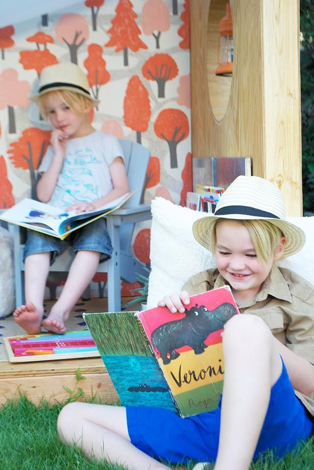 Inspiration for a child-sized outdoor book nook from the Potter Barn Kids blog.