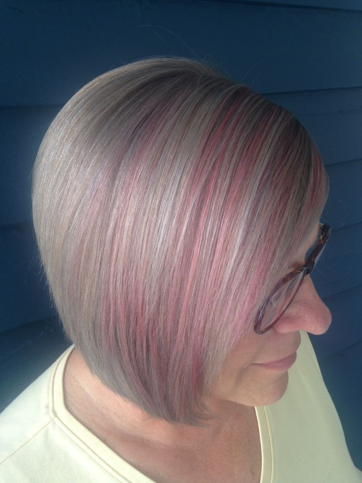 candy pink highlights silver grey