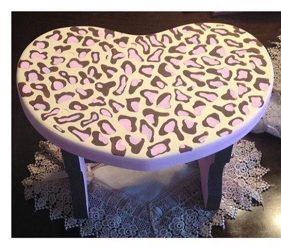 Heart Shaped Cheetah Print Decorative Step Stool