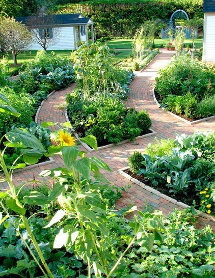 Really love this vegetable garden - paths that look great and make the garden easy to maintain too... pinned with Pinvolve