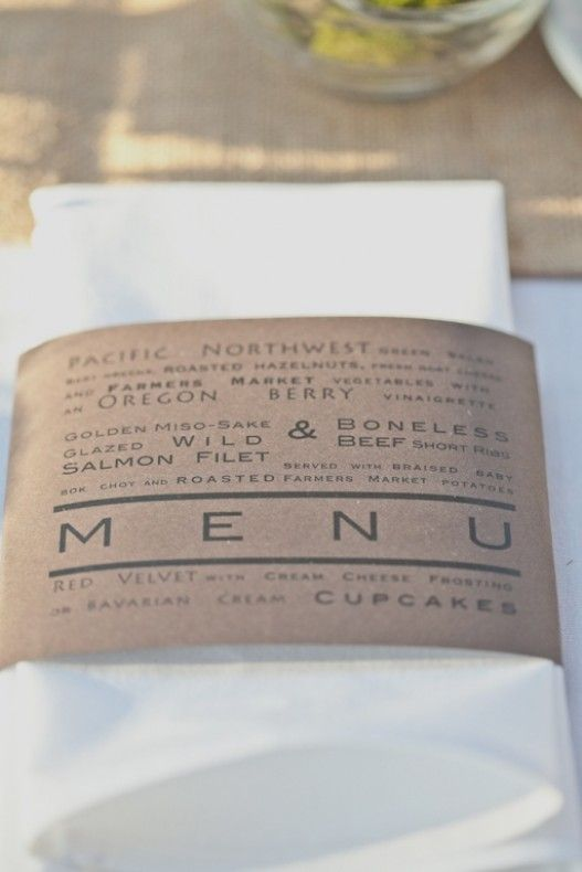 wedding menus in napkins  olivesdesigns.com can take care of all your stationary and print needs!