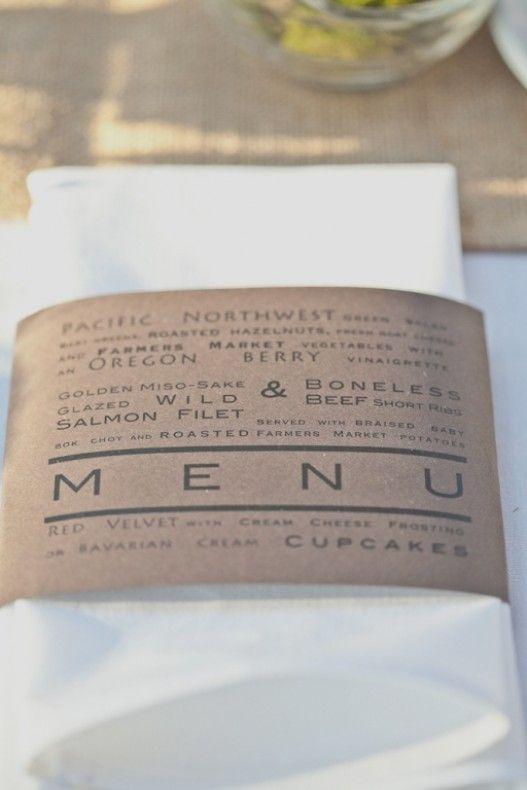 wedding menus in napkins - Google Search