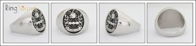 Sterling Silver Family Crest Ring, Antique Finish