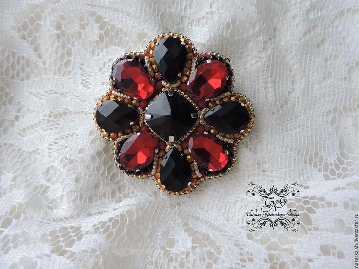 """Купить Брошь-орден """"Благородный граф"""" - комбинированный, брошь, брошь-орден, красно-черный"""