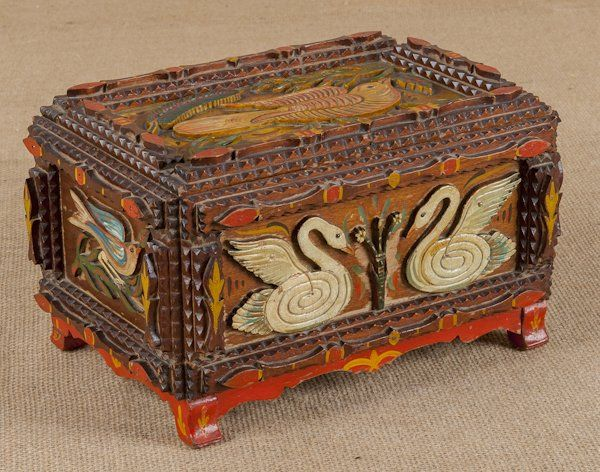 Painted tramp art dresser box, late 19th c., in : Lot 113