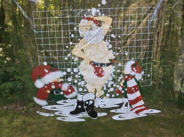 Santa Claus Showering Shower Curtain Vinyl Liner Copyright