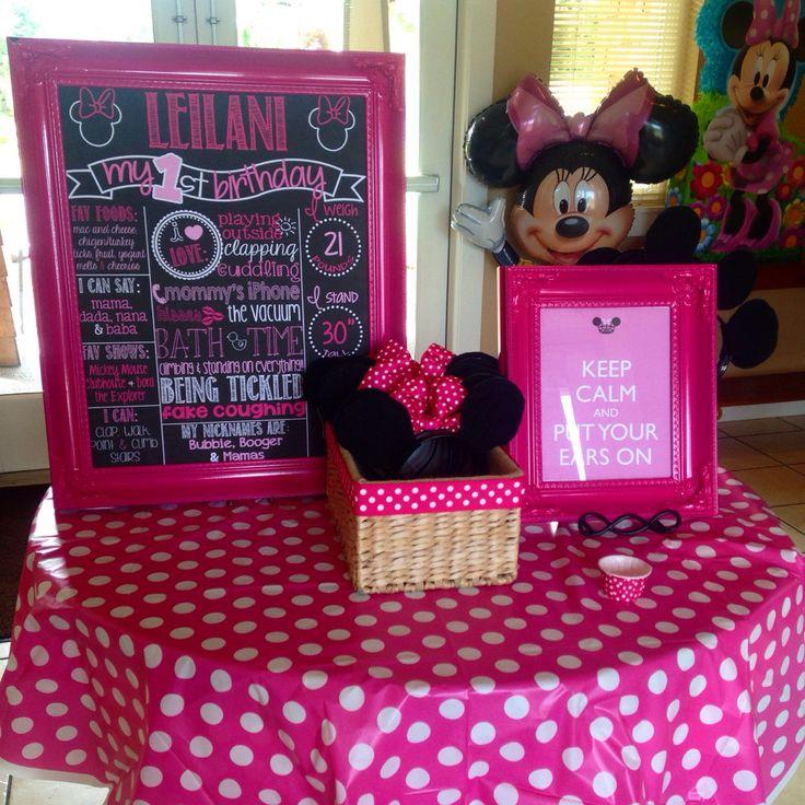 Minnie Mouse First Birthday Chalkboard Poster Girl 1st Birthday Chalk Board Custom Printable by PersonalizedChalk on Etsy