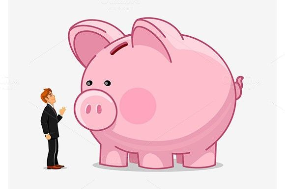 Businessman with large piggy bank. $6.00