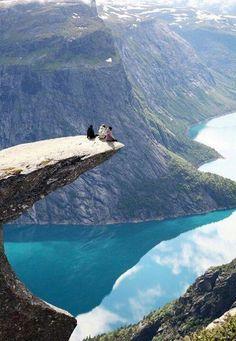 Norway, fjeld, mountain, lake, view, panorama, men, breathtaking, Mother nature, Cliff, Water, reflection, Photo
