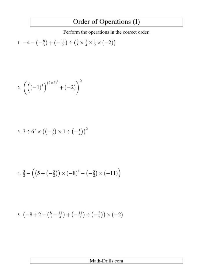 Order of Operations with Fractions -- Six Steps Including Negative ...