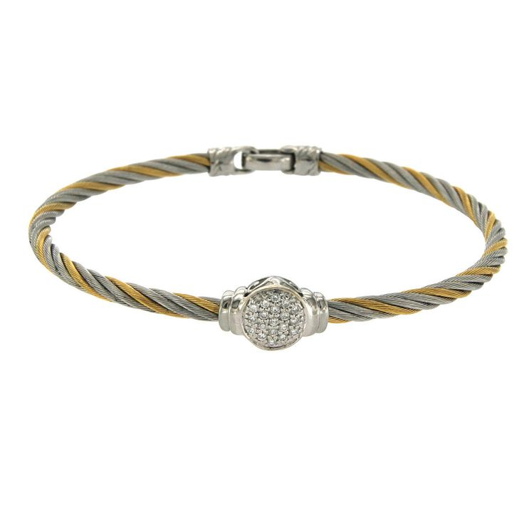 "Philippe Charriol 18k Gold & Tow Tone Steel 0.22 CT Diamonds Cable Bracelet 7"" #Charriol #Bracelet"
