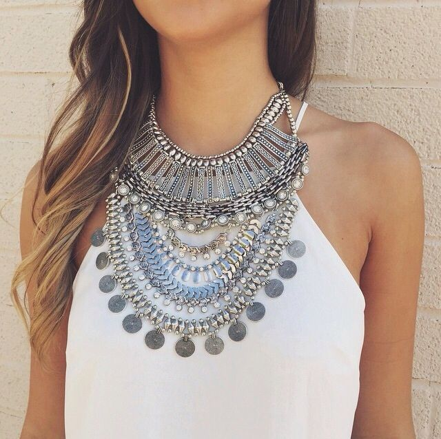 coins. silver. boho jewelry. statement necklace.