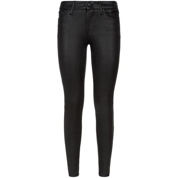 7 For All Mankind Cracked Faux Leather Skinny Jeans ($295) ❤ liked on Polyvore featuring jeans, skinny jeans, skinny fit jeans, stretchy skinny jeans, black jeans and stretch jeans