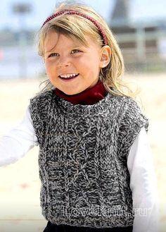 Схема схемы вязания спицами детский жилет с круглым вырезом