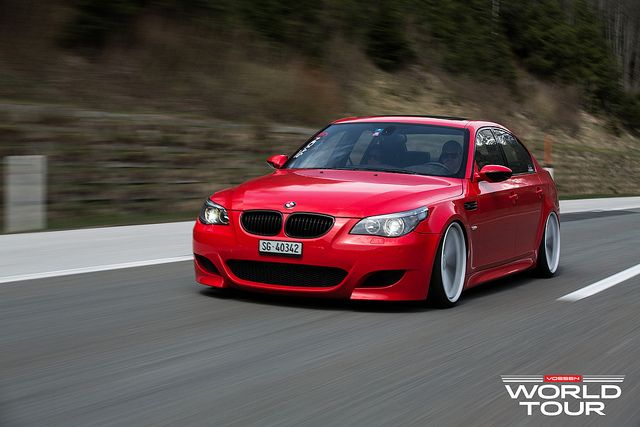 Stanced BMW M5 on Vossen Wheels