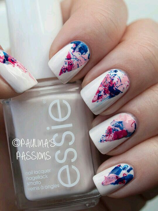 Foil nail art on white background
