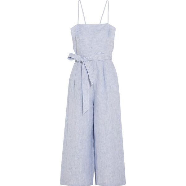 J.Crew Marseille pinstriped linen jumpsuit (£100) ❤ liked on Polyvore featuring jumpsuits, dresses, rompers, pants, playsuit, blue, strappy jumpsuit, playsuit jumpsuit, blue wide leg jumpsuit and blue romper