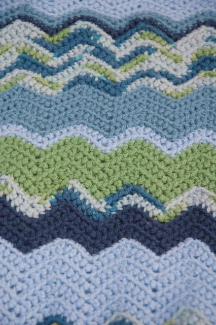 I can craft that!: Baby Gifts. Part 1 Crochet Chevron wave blue and green baby boys blanket