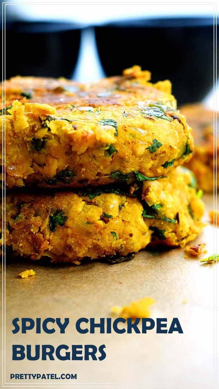 These masala chickpea burgers are made using Indian flavours and spices. The burgers don't fall apart and super easy to make. This is a healthy vegan and gluten free recipe. Recipe by prettypatel.com via @pretty_patel