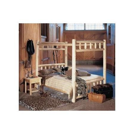 "80"" Cedar Log-Style Wooden Handcrafted Queen Canopy Bed Frame"