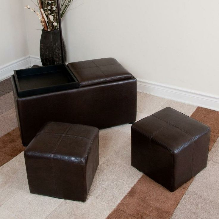 This practical unit can transform one rectangular ottoman used for seating  or as a footrest,