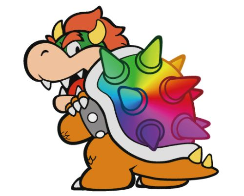 """nintendosupport: """" adoropal: """" suppermariobroth: """"Rainbow Bowser's sprite extracted from the files of Paper Mario: Color Splash. """" gay bowser """" gay bowser """" So long, gay Bowser."""