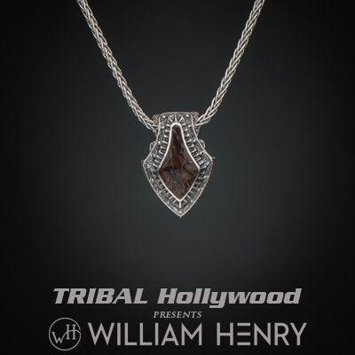 William Henry RED DINOSAUR BONE Sterling Silver Mens Pendant Necklace