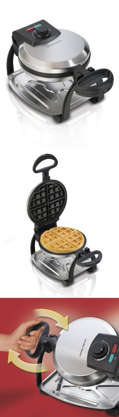26010 Hamilton Beach Flip Belgian Waffle Maker - Enjoy delicious fluffy Belgian waffles with the Hamilton Beach Belgian Style Flip Waffle Maker. Made with easy to clean nonstick grids to bake the perfect waffle with deep pockets to hold butter and s... - Waffle Irons - Kitchen$30.00