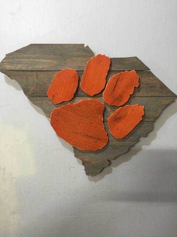 Clemson Tigers Wooden Rustic Wall Art by MacDonaldsCreations