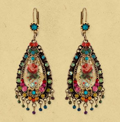 Opulent tear shaped hanging Michal Negrin earrings decorated with Swarovski crystals, rose formatted metal print and beads.
