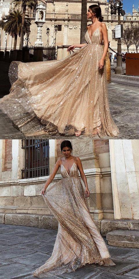 Charming A Line V Neck Spaghetti Straps Sequin Long Prom Dress OKE44