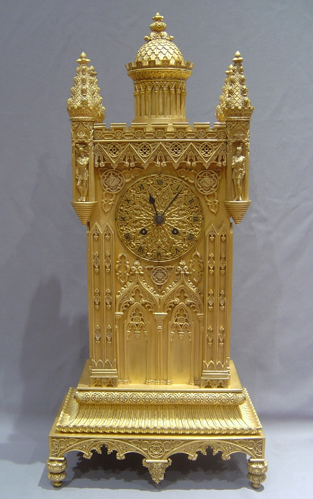 Antique gothic ormolu mantel clock in form of tower or castle - French  1830-1840
