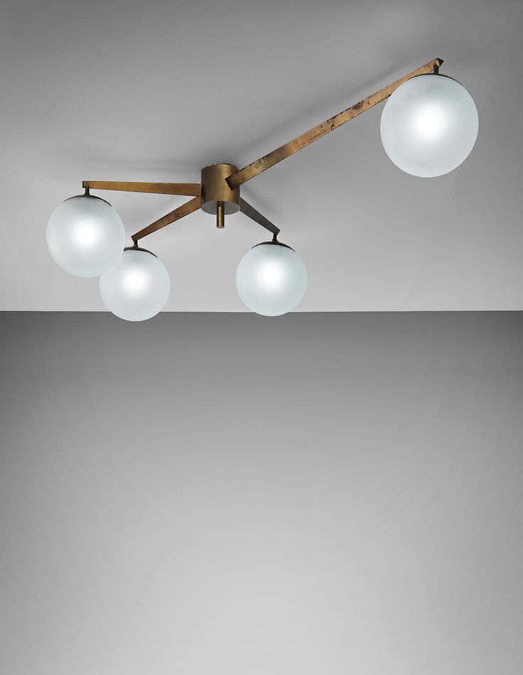 Angelo Lelii; Brass and Frosted Glass Ceiling Light for Arredoluce, 1950s.