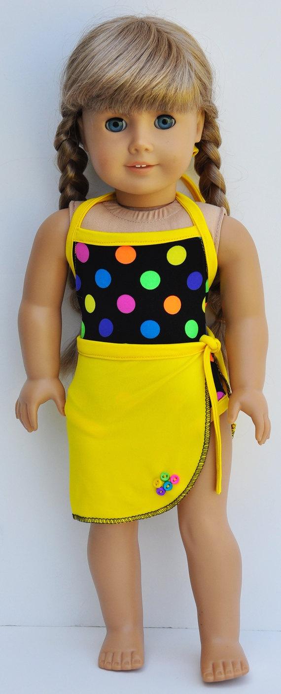 American Girl Swimwear  - Neon Polka Dot One Piece with Yellow Sarong