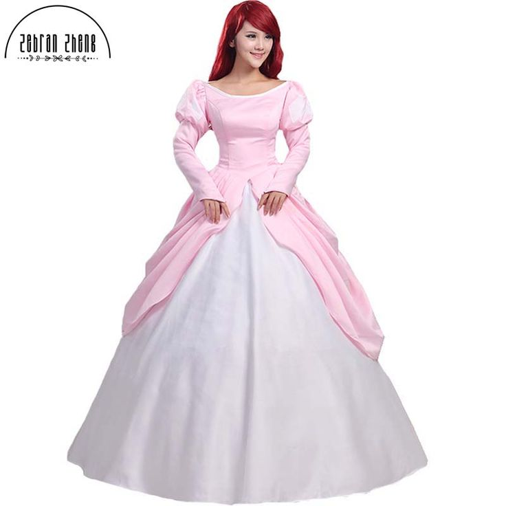 The Little Mermaid Princess Ariel Pink Dress Cosplay Costume For Adult Women Halloween Party  Custom Made Free Shipping #Affiliate
