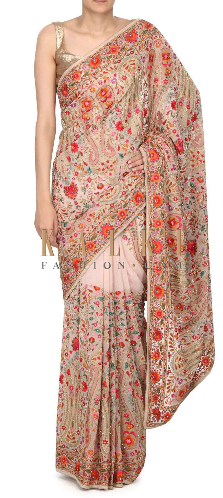 Buy this Cream saree in kashmirir thread work only on Kalki