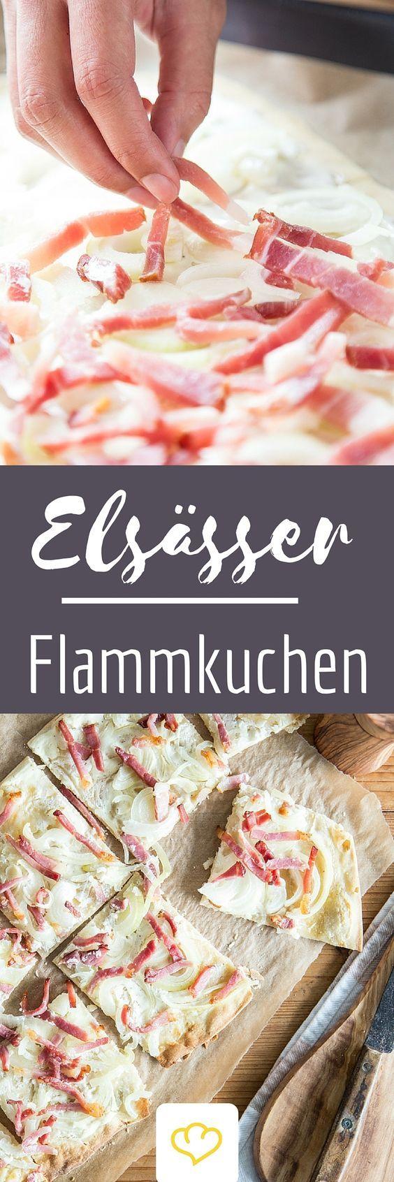 Nie wieder Flammkuchen aus der Tiefkühltruhe! Das leckere Elsässer Original mit Schmand, Speck und Zwiebeln lässt sich zuhause ganz einfach frisch selber machen!