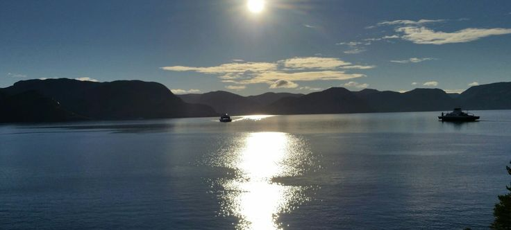 Ferry crossing fjord. Green harmony j_w® original pictures.👌