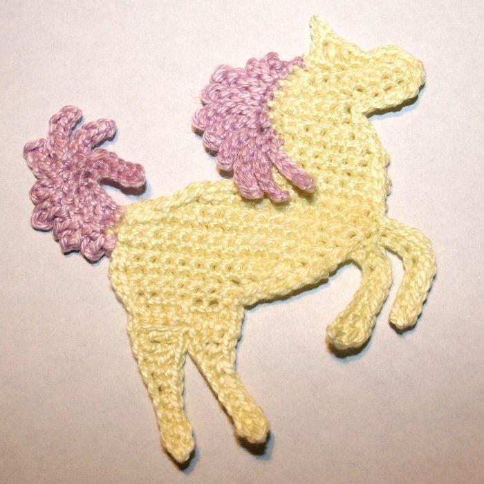 crochet horse appliques | Pattern-Crochet Horse, Pony or Unicorn Applique - by ...