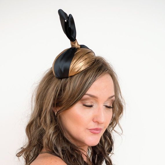 Disco Cocktail Hat Fascinator Gold and black by TaraMDesigns