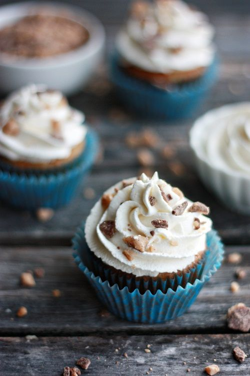 """""""Banoffee"""" Cupcakes by Not Your Momma's Cookie. Moist banana cake with toffee filling and sweet cream frosting"""