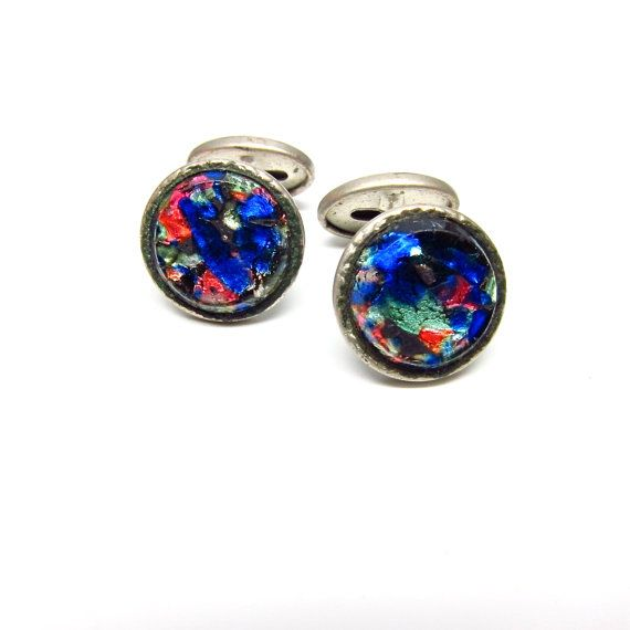 Vintage Cufflinks Glass Blue Cuff Links Mens by hensfeathers, $45.00