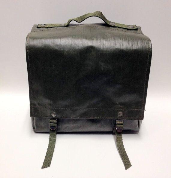 Czech Military Surplus Rubberized shoulder Bag Vintage Bicycle Pannier PAIR